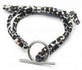 C-F8.1 B2040-006 Animal Print Fabric Bracelet with Stainless Steel Lock Brown-Silver
