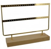Z-F4.5 PK424-003 Wood with Metal Earring Display 27x22x7cm Chrome Gold