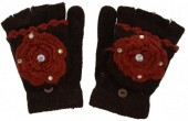 I-C9.2 Kids Gloves with Flower Red