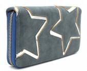 S-K4.1 WA117-007 PU Wallet with Silver Stars 19x10cm Grey