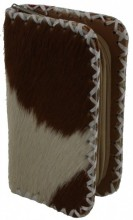 R-A7.2 Leather Wallet with Mixed Color Cow Hide and 2 Zippers 16x9x4.5cm