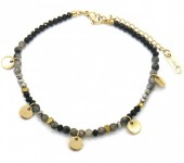 D-B3.2 B010-017G S. Steel Bracelet Coins and Stones Grey-Gold