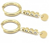 C-F5.1 E1934-002G Stainless Steel 15mm Earrings with 20mm Charm Gold