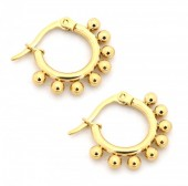 D-A16.2 E1264-004SS Stainless Steel Earrings with Dots 10mm Gold
