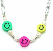 H-E8.2 N2126-025S S. Steel Necklace Smileys Silver