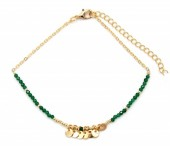 E-C4.4  B426-001 Bracelet with Green Glass Beads and Coins Gold