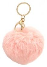 C-F9.1 KY414-004A Bag-Keychain Fluffy 9cm Pink