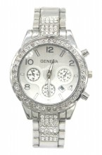 B-C5.3 W003-010 Metal Quartz Watch with Crystals and Date 38mm Silver