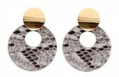 D-B16.2  E220-009 Earrings with Snakeskin 5.5x4cm Light Brown