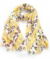 X-G3.2  S314-005 Scarf with Animal Print 180x90cm Yellow