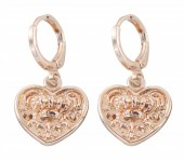 B-E19.2 E426-006 Earrings 10mm with Heart 14mm Rose Gold