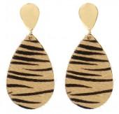 B-A18.5 E1633-019F Earrings Animal Print 6.5x3cm Brown-Gold