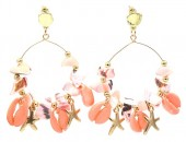 G-B3.1 E536-113B Earrings Shells 6x4cm Pink