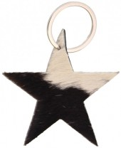 A-G4.4  Leather Cowhide Keychain Star Mixed Colors 8cm