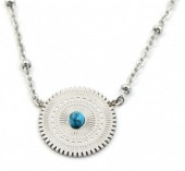 D-D16.3  N2020-009S S. Steel Necklace 15mm Charm with Marble Silver