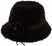S-B5.1 Woolen Hat with Ribbon and Flower Dark Brown
