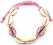 D-E18.1  B2001-021C Bracelet with Shells Pink