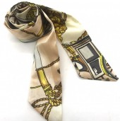 H415-002F Hair Scarf with Fantasy Print 100x5cm Pink