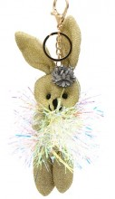 S-G6.4 KY2035-001C Keychain Glitter Bunny 15cm Gold
