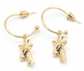 C-E6.5 E426-008 Earrings 20mm with Giraffe 20mm Gold