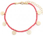 J-D8.3 B2039-018F Bracelet with Glass Beads and Coins Red