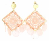 F-E19.1 E536-110B Earrings Woven with Shells 6x4cm Pink