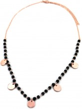 C-E9.2 N426-012R Necklace Coins with Facet Glass Beads Rose Gold