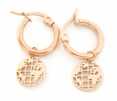 A-C4.1  E1901 Stainless Steel 12mm Earrings with 10mm World Map Rose Gold