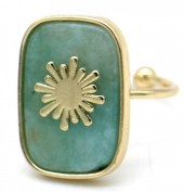 G-E4.5 R532-009G Adjustable Ring Stone with Sun Gold