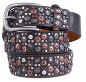 H-D1.1  FTG-060 PU with Leather Belt with Studs-Stars-Crystals 3.5x105cm Grey