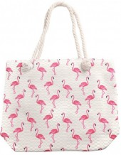 Y-F6.5  BAG217-002 Beach Bag Flamingos 43x34cm White