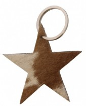 D-C5.1  Leather Cowhide Keychain Star Mixed Colors 8cm