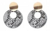 D-D15.1  E220-009 Earrings with Snakeskin 5.5x4cm Grey