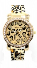 WA202-001 Quartz Watch with Leopard Print and Crystals Gold-Brown Leopard