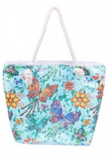 Y-E5.2 BAG217-023 Beach Bag with Sequins and Butterflies Blue
