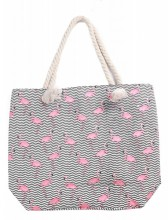 Y-F1.5 BAG217-002 Beach Bag Flamingos 43x34cm Grey