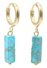 B-F5.1 E301-068G S. Steel Earrings with Stone 1.2x2.5cm Blue