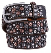 H-A21.1 FTG-060 PU with Leather Belt with Studs-Stars-Crystals 3.5x100cm Brown