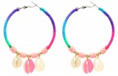 F-D22.2 E536-070B Earrings 5.5cm Creoles Shells Multi-Pink