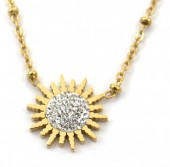 D-A21.3 N2020-008G S. Steel Necklace 15mm Flower Crystals Gold