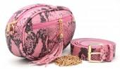T-H3.2  BAG212-006 PU Snakeskin Combination Bag incl Belt Pink