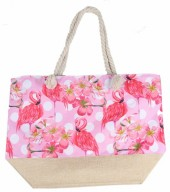 Y-A2.5  BAG528-004 Beach Bag Flowers Flamingo 36x52cm