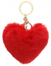 S-A5.4 KY414-003B Fluffy Bag-Keychain 10cm Heart Red