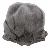 R-E3.1  Woolen Hat with Large Flower Grey