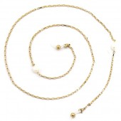 C-C21.3 SGL024 Stainless Steel Sunglass Chain Pearls Gold