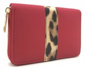Q-H2.2 WA420-008 PU Wallet with Animal Print 15x10cm Red
