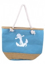Y-F3.4 BAG217-021 Beach Bag with Straw and Anchor Blue
