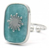 G-E4.3 R532-009S Adjustable Ring Stone with Sun Silver