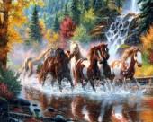 Q-L2.1  S6028 Diamond Painting Set Horses  Round Stones 50x40cm
