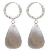 A-E4.2 E2121-057S S. Steel Earrings 3x1cm Grey Stone